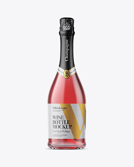 Download Clear Glass Champagne Bottle With Textured Foil Mockup PSD - Free PSD Mockup Templates