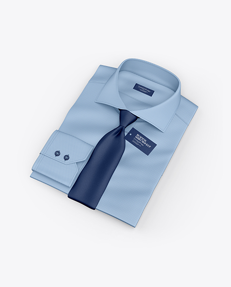 Folded Shirt With Tie Mockup - Half Side View (High-Angle Shot)