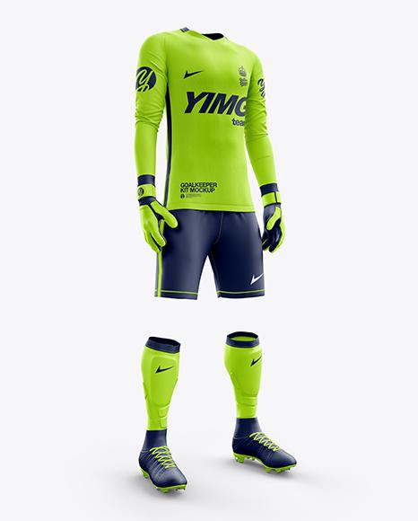 Men's Full Soccer Goalkeeper Kit mockup (Hero Shot)