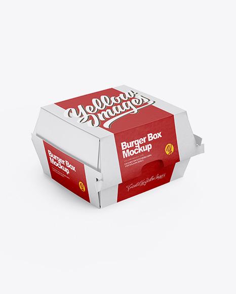 Paper Burger Box Mockup Half Side View High Angle Shot Psd