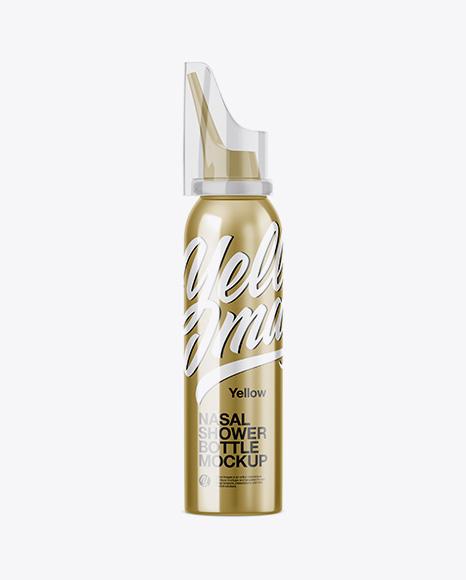 Download Free Nasal Shower Metallic Bottle Mockup PSD Template