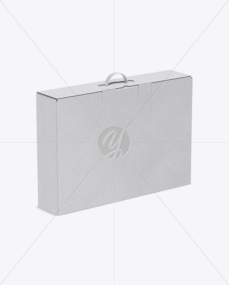 Kraft Carton Box With Handle Mockup - Half Side View (High Angle Shot)