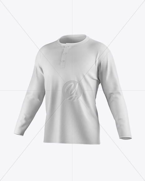 Men's Baseball T-shirt With Long Sleeves Mockup - Half Side View