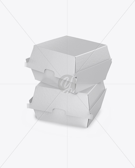 Two Paper Burger Boxes Mockup - Half Side View