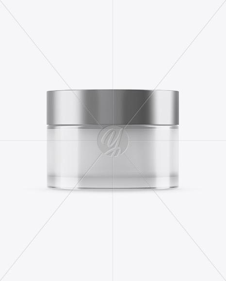 50ml Transparent Cosmetic Jar With Metallic Cap Mockup