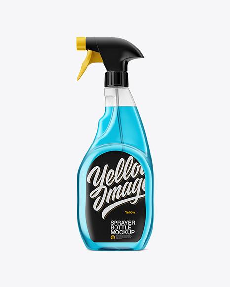 Download Transparent Plastic Bottle W/ Trigger Sprayer Mockup Object Mockups