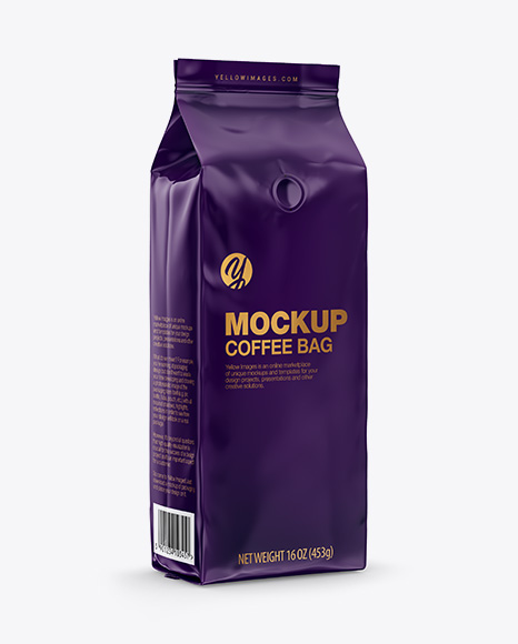 Download Glossy Coffee Bag with Valve Mockup - Half Side View Object Mockups