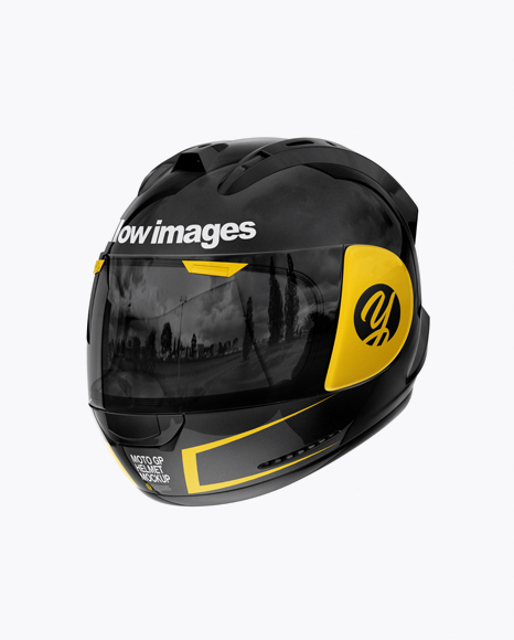 Moto GP Helmet Mockup - Half Side View