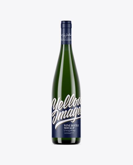 750ml Green Glass White Wine Bottle Mockup
