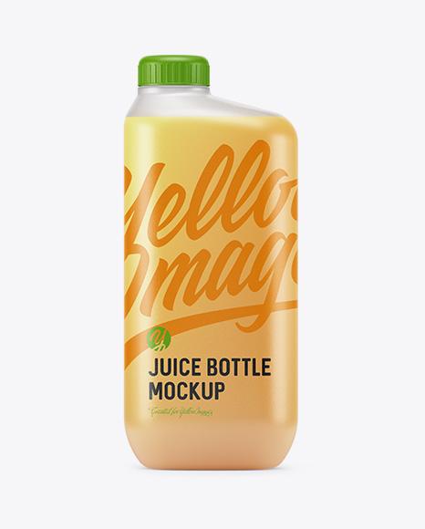 Frosted Plastic Bottle With Orange Juice Mockup