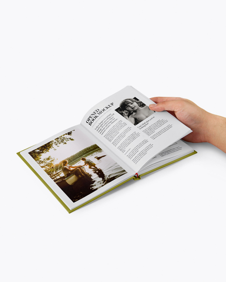 Download Opened Hardcover Book in a Hand Mockup - Half Side View Object Mockups