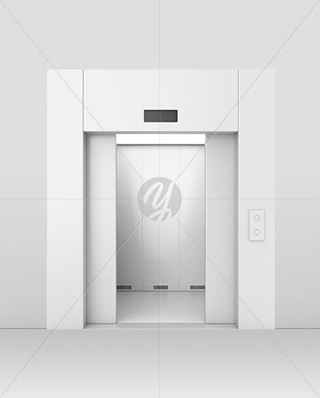 Elevator With Half Opened Doors Mockup & Elevator With Half Opened Doors Mockup in Object Mockups on Yellow ...