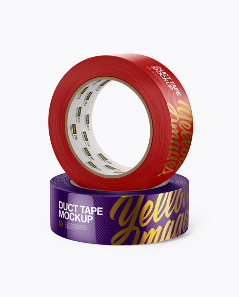 Download Two Textured Duct Tape Rolls Mockup - Front View Object Mockups
