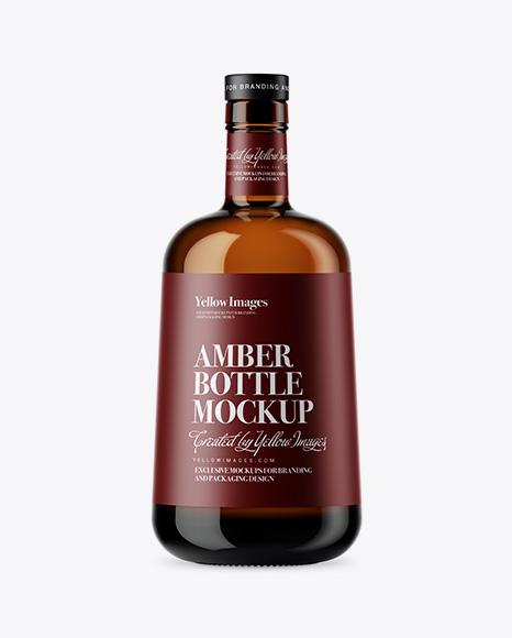Download Amber Glass Bottle Mockup Object Mockups