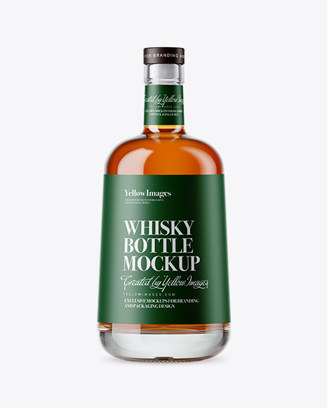 Download Free Clear Glass Whisky Bottle Mockup PSD Template