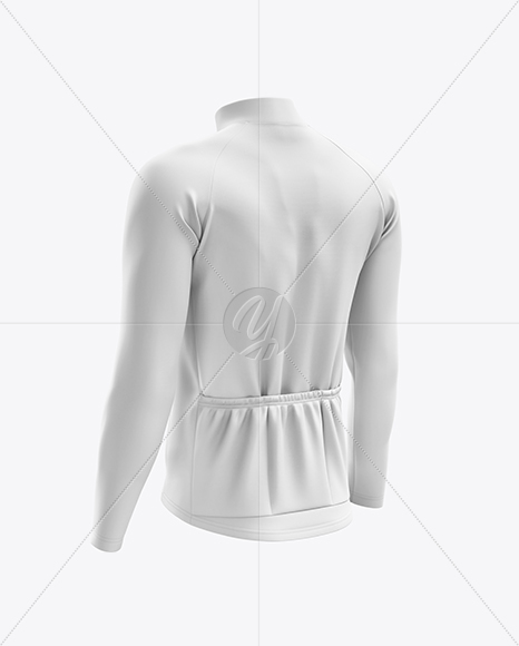 Men's Cycling Thermal Jersey LS mockup (Back Half Side View)