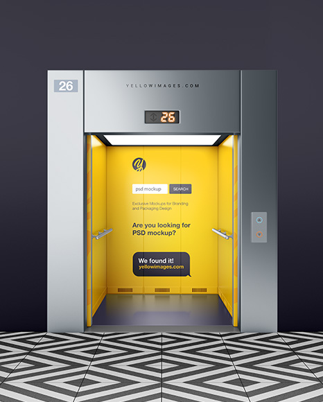 Elevator With Opened Doors Mockup In Object Mockups On Yellow