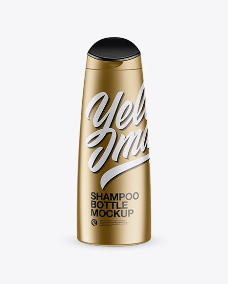 Download Matte Metallic Shampoo Bottle Mockup (High-Angle Shot) Object Mockups