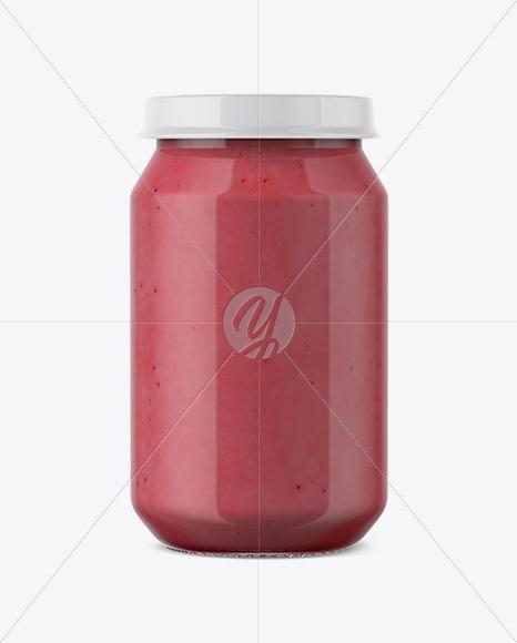 Baby Food Strawberries And Cream Puree Jar Mockup