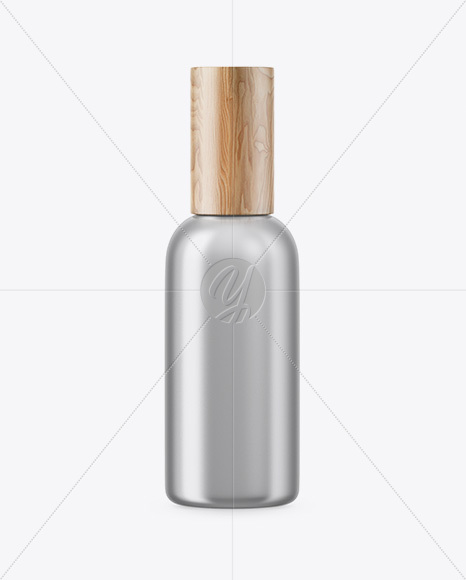 Matte Metallic Cosmetic Bottle With Wooden Cap Mockup