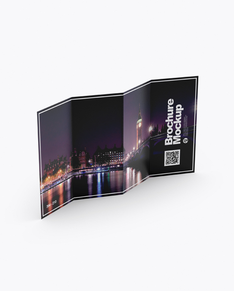 Download 4xDL Brochure Mockup - High Angle Shot Object Mockups