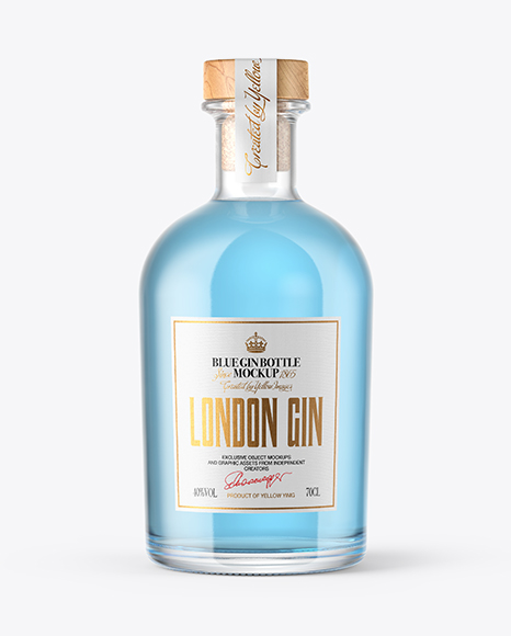 Download Clear Glass Gin Bottle with Wooden Cap Mockup Object Mockups