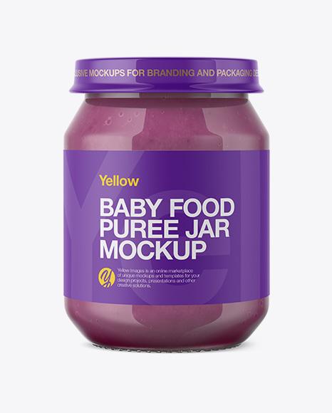 Baby Food Apple And Blueberry Puree Jar Mockup