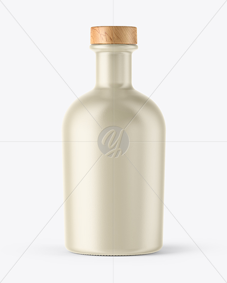 Ceramic Bottle with Wooden Cap Mockup