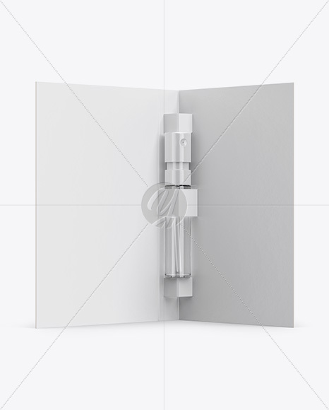 Glass Sample Vial Sprayer With Card Mockup - Half Side View