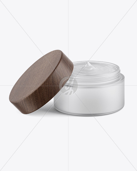 Opened Frosted Glass Jar W/ Wooden Lid Mockup