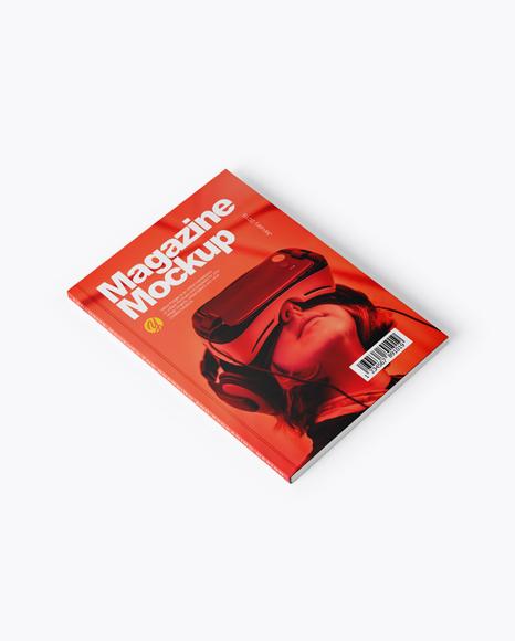 Magazine Mockup - Half Side View