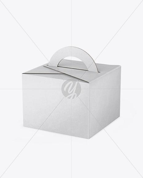 Kraft Box Mockup - Half Side View (High Angle Shot)