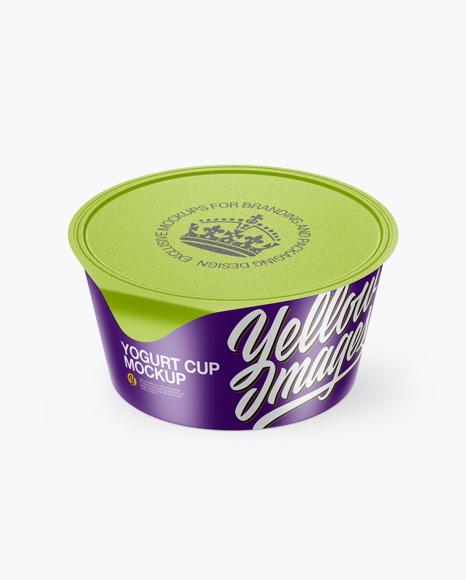 Download Textured Yogurt Cup Mockup (High-Angle Shot) Object Mockups
