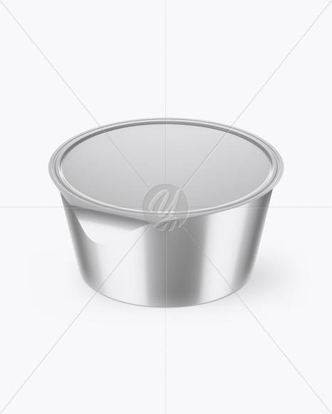 Metallic Yogurt Cup Mockup (High-Angle Shot)