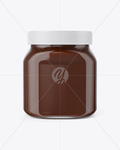 Glass Jar with Chocolate Spread Mockup - Front View