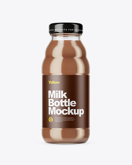 Download Free Clear Glass Chocolate Milk Bottle Mockup PSD Template