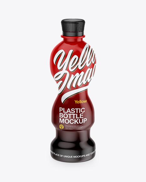 PET Bottle in Glossy Shrink Sleeve Mockup