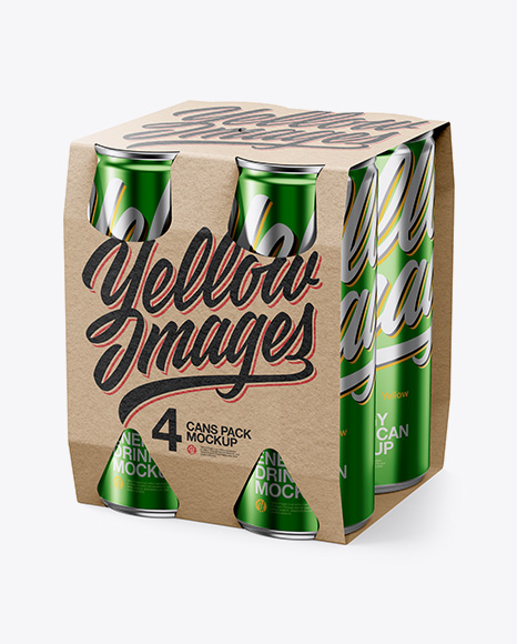 Pack with 4 Cans Mockup
