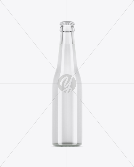 Clear Glass Bottle With Tonic Water Mockup