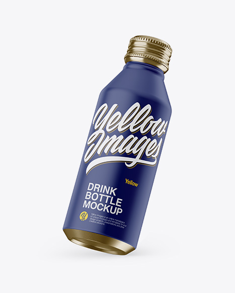 Download Free Slanted Metallic Drink Bottle With Matte Finish Mockup PSD Template