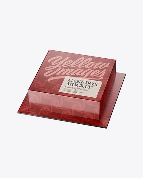 Download Glossy Cake Box Mockup - Half Side View (High-Angle Shot) Object Mockups