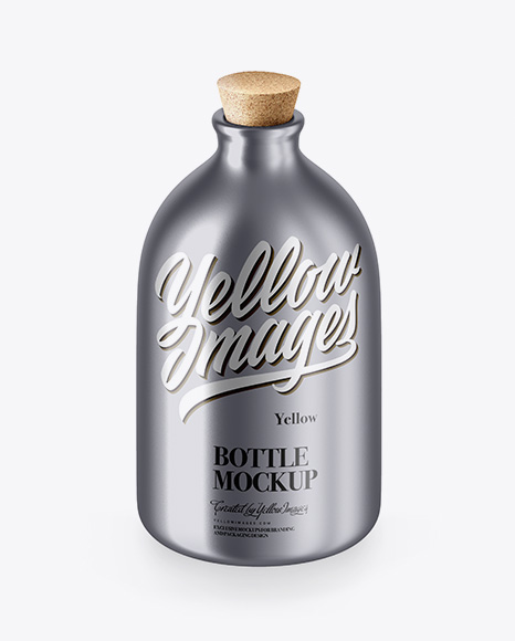 Matte Metallic Bottle With Cork Mockup - High-Angle Shot
