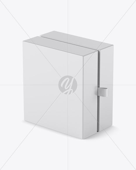 Matte Gift Box Mockup - Half Side View (High-Angle Shot)