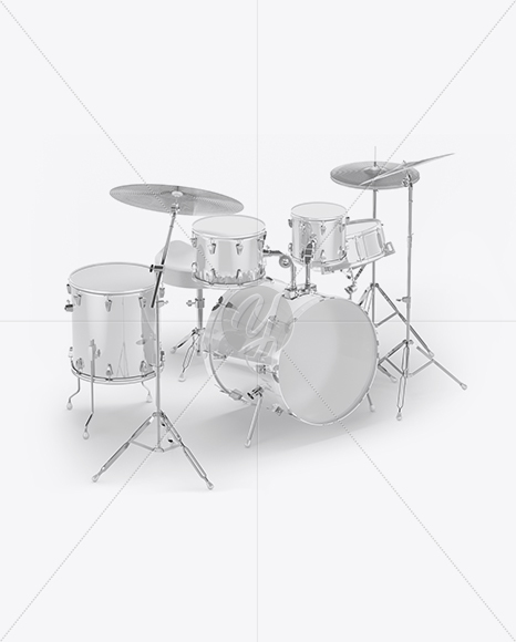 Drum Kit Mockup - Half Side View (High-Angle Shot) in Object
