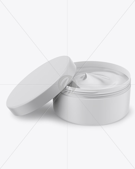 Opened Matte Plastic Cosmetic Jar Mockup - Front View (High Angle Shot)