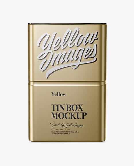 Download Metallic Tin Box Mockup - Front View Object Mockups