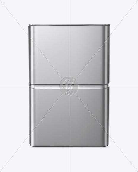 Metallic Tin Box Mockup - Front View