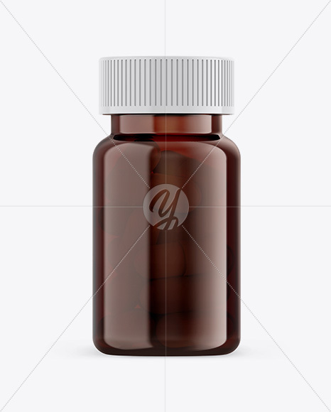 Amber Pills Bottle Mockup - Front View
