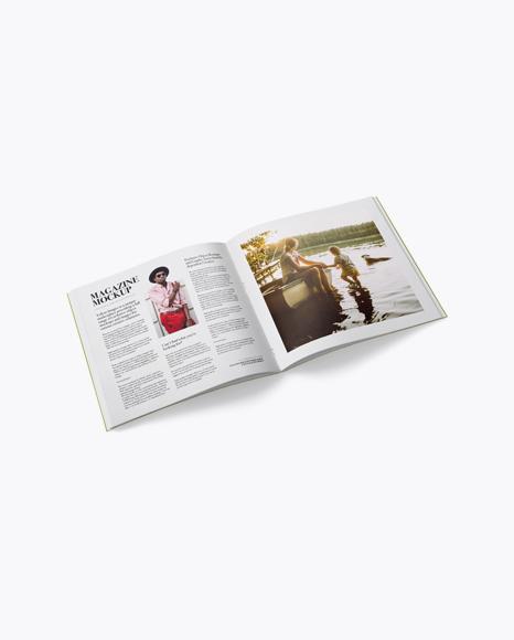 Download Opened Magazine Mockup - Half Side View Object Mockups