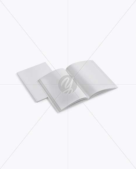 Two Softcover Books Mockup - Half Side View